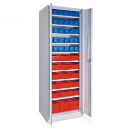 Schrank mit Regalkästen blau, LxBxH 400 x 91 x 81 mm + rot, LxBxH 400 x 183 x 81 mm, Türen in lichtgrau RAL 7035