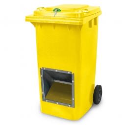 Streugutbehälter mit Entnahmeöffnung und Schließung, gelb, 240 Liter, BxTxH 580 x 730 x 1075 mm