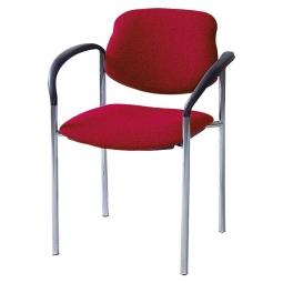 Besucherstuhl mit Armlehnen, Gestell schwarz, Polster rot, stapelbar, BxTxH 500x550x820 mm.