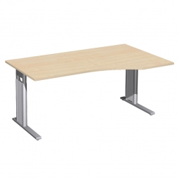 Schreibtisch PREMIUM höhenverstellbar, rechts, Ahorn/Silber, BxTxH 1600x800/1000x680-820 mm