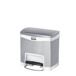 Tretabfalleimer SlimJim, 15 Liter, Edelstahl, weiß, LxBxH 396x303x400 mm, Pedal an der Breitseite