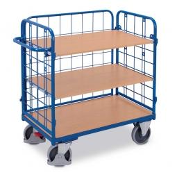 Etagenwagen mit 3 Wänden und 3 Böden, LxBxH 1190 x 725 x 1220 mm, Tragkraft 500 kg