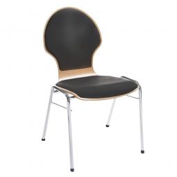 Holzschalen-Stapelstuhl, Mit Sitz- und Rückenpolster in Farbe schwarz