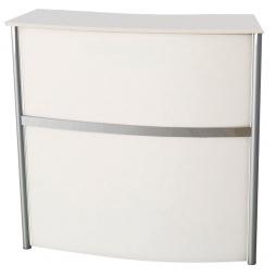 Messetheke, BxTxH 1300x700x1150 mm, Farbe alusilber/weiß