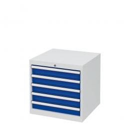 System-Schubladenschrank mit 5 Schubladen, BxTxH 600x575x620 mm, lichtgrau/enzianblau