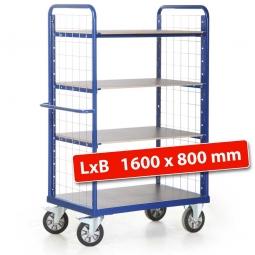 Hoher Etagenwagen mit 2 Gitterwänden/4 Ladeflächen, LxBxH 1790 x 800 x 1800 mm, Tragkraft 1200 kg
