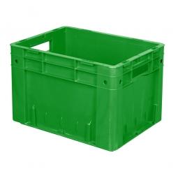 Schwerlast-Eurobehälter geschlossen, PP, LxBxH 400x300x270 mm, 23 Liter, 2 Durchfassgriffe, grün