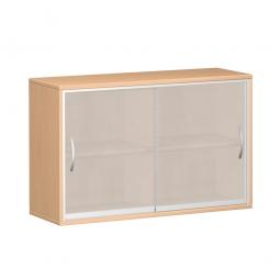 Glas-Schiebetürschrank PRO 2 Ordnerhöhen, Buche, BxHxT 1200x768x425 mm