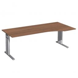 Schreibtisch PREMIUM höhenverstellbar, rechts, Nussbaum/Silber, BxTxH 2000x800/1000x680-820 mm