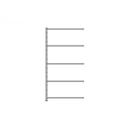 Fachboden-Anbauregal Economy mit 5 Böden, Stecksystem, BxTxH 1006 x 635 x 2000 mm, Tragkraft 250 kg/Boden, kunststoffbeschichtet