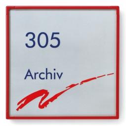 "Türschild ""Rom"", rubinrot RAL 3003, 180x180 mm"