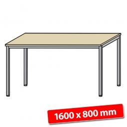 Schreibtisch mit Quadratrohr-Füßen, Farbe silber, Ahorn, BxTxH 1600x800x680-760 mm
