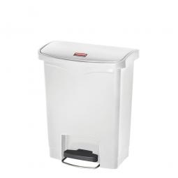 Tretabfalleimer SlimJim, 30 Liter, weiß, LxBxH 425x271x536 mm, Polyethylen, Pedal an der Breitseite