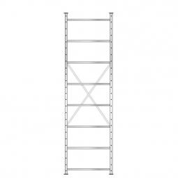 Fachbodenregal mit 8 Böden, Stecksystem, Grundregal, einseitige Ausführung, BxTxH 870 x 315 x 3000 mm, Oberfläche glanzverzinkt