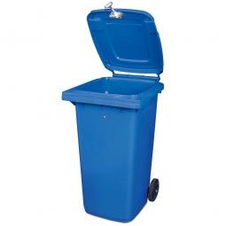 Müllbehälter mit Dreikantschlüssel verschließbar, BxTxH 580 x 740 x 1070 mm, 240 Liter, blau
