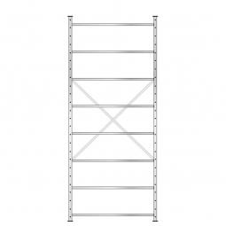Fachbodenregal mit 8 Böden, Stecksystem, Grundregal, doppelseitige Ausführung, BxTxH 1270 x 630 (2x315) x 3000 mm, Oberfläche glanzverzinkt