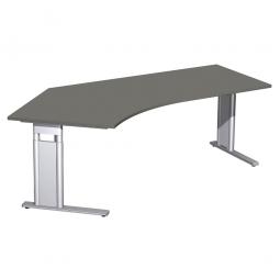 Schreibtisch PREMIUM höhenverstellbar, 135° links, Graphit/Silber, BxTxH 2166x800/1130x680-820 mm