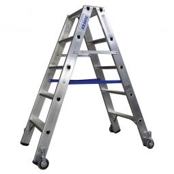 Alu-Stufen-Doppelleiter mit 2x 5 Stufen, fahrbar, Leiterhöhe 1200 mm, max. Arbeitshöhe 2950 mm, Gewicht 6,6 kg