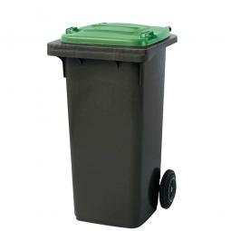 120 Liter MGB, Müllbehälter in anthrazit mit grünem Deckel