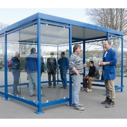 Raucher- und Pausenunterstand, LxBxH 4195x4330x2510 mm, Innen-Höhe 2360 mm