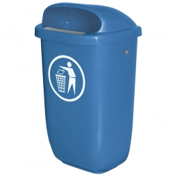 Abfallbehälter nach DIN 30713, 50 Liter, blau, BxTxH 430x330x745 mm, Polyethylen-Kunststoff (PE-HD)