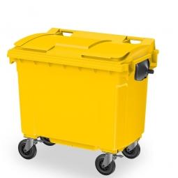 Müllbehälter, 660 Liter, nach EN 840-6, gelb, BxTxH 1360 x 765 x 1235 mm, Polyethylen (PE-HD)