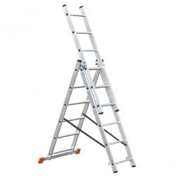 [B-Ware] - Aluminium-Vielzweck-Leiter mit 3x 6 Sprossen, Erreichbare Arbeitshöhe 5100 mm, Gewicht 8,6 kg