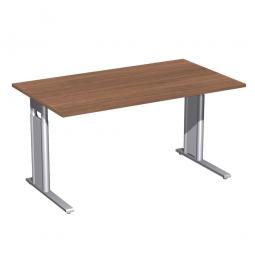 Schreibtisch PREMIUM höhenverstellbar, Rechteck, Nussbaum/Silber, BxTxH 1600x800x680-820 mm