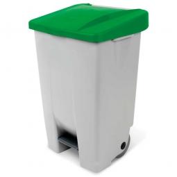 Tret-Abfallbehälter mit Rollen, PP, BxTxH 490 x 420 x 740 mm, 80 Liter, grau/grün