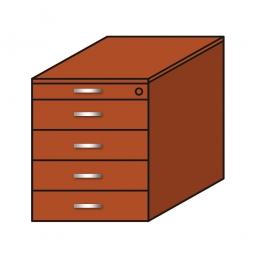Standcontainer, 5 Schubladen, Kirsche, BxTxH 435x800x680-740 mm