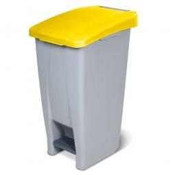 Tret-Abfallbehälter mit Rollen, PP, BxTxH 380 x 490 x 700 mm, 60 Liter, grau/gelb