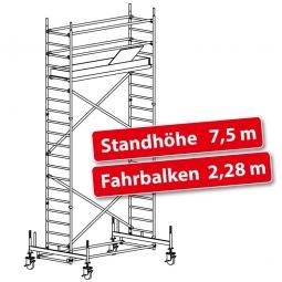 Fahrgerüst Plettac Alu Star 80 mit Fahrbalken, Arbeitshöhe 9,5 m, Gerüsthöhe 8,75 m, Standhöhe 7,5 m