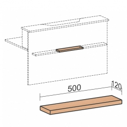 """Taschenablage für Empfangstheke """"SUPERIOR"""", gerade, BxT 500x120 mm, Buche"""