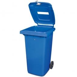 Müllbehälter mit Papiereinwurf, verschließbar, 240 Liter, blau