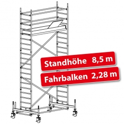 Fahrgerüst Plettac Alu Star 80 mit Fahrbalken, Arbeitshöhe 10,5 m, Gerüsthöhe 9,75 m, Standhöhe 8,5 m