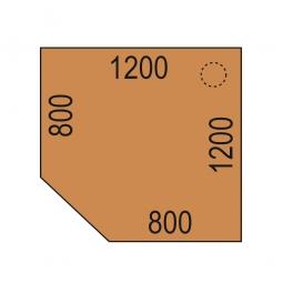Verkettungsplatte mit Stützfuß, Buche-Dekor, BxT 1200x1200 mm