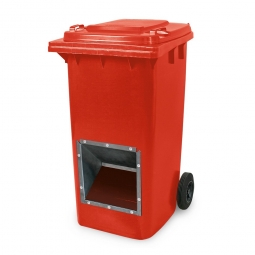 Streugutbehälter mit Entnahmeöffnung, BxTxH 580 x 730 x 1075 mm, 240 Liter, rot
