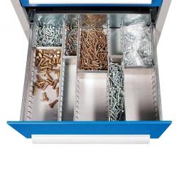 Schubladenunterteilungen aus verzinktem Stahlblech, 5 Längsträger und 5 Querteiler<br>  5 Querteilern