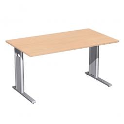 Schreibtisch PREMIUM höhenverstellbar, Buche/Silber, BxTxH 1600x800x680-820 mm