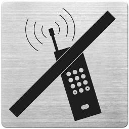 """Hinweisschild """"Handy verboten"""", Edelstahl, HxBxT 90x90x1 mm"""