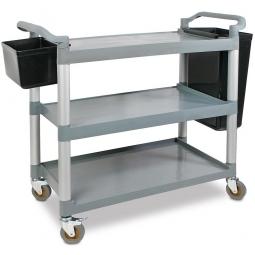 Allzweck- und Servierwagen, 3 Etagen, LxBxH 1070x500x990 mm, Tragkraft 150 kg + GRATISzugabe: 2 Sammelbehälter 9 und 30 Liter