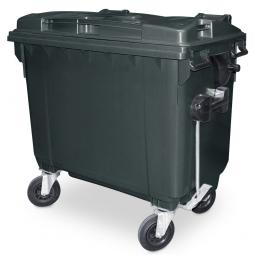 Müllbehälter, 660 Liter, nach EN 840-6, grau, BxTxH 1360 x 765 x 1235 mm, Polyethylen (PE-HD)