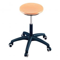 Arbeitsdrehhocker mit 5 Rollen, Sitz-Ø 340 mm, Buche natur lackiert, Belastbar bis 120 kg