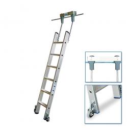 Aluminium-Stufenregalleiter, fahrbar, mit 6 Stufen, Senkrechte Einhängehöhe von 1670 bis 1900 mm