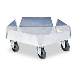 Edelstahl-Tonnenroller mit verzinkten Lenkrollen, und 5 schwarzen Kunststoffrädern Ø 75 mm. Tragkraft 250 kg.