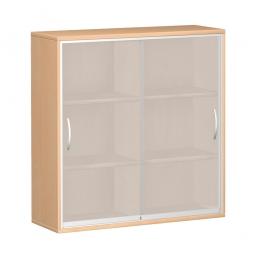Glas-Schiebetürschrank PRO 3 Ordnerhöhen, Buche, BxHxT 1600x1152x425 mm