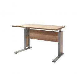 Schreibtisch mit C-Fußgestell, Farbe silber, Platte Wildeiche, BxTxH 800x800x680-820 mm