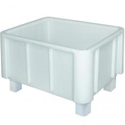 Lebensmittel-Großbehälter, LxBxH 800x600x510 mm, weiß, Boden und Wände geschlossen, 4 Füße