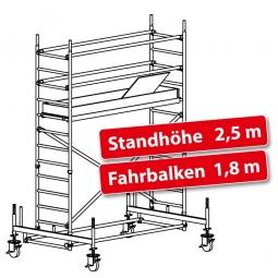 Fahrgerüst Plettac Alu Star 80 mit Fahrbalken, Arbeitshöhe 4,5 m, Gerüsthöhe 3,75 m, Standhöhe 2,5 m
