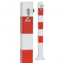 Absperrpfosten, sichtbare Höhe 900 mm, Vierkant 70x70 mm, umklappbar Ausführung, mit Bodenplatte